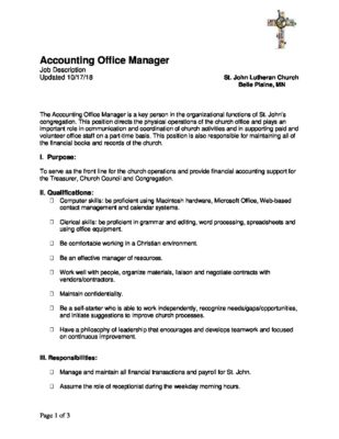 Accounting Office Manager Job Description 10 17 - St  John Lutheran